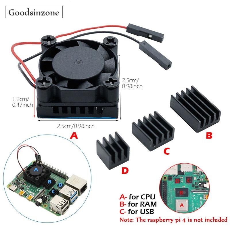 Raspberry Pi Modelo B DIY ventilador de refrigeración de la CPU con aluminio Base del disipador de calor + disipador para memoria RAM disipadores de calor Kit para Raspberry Pi 4 Pi4