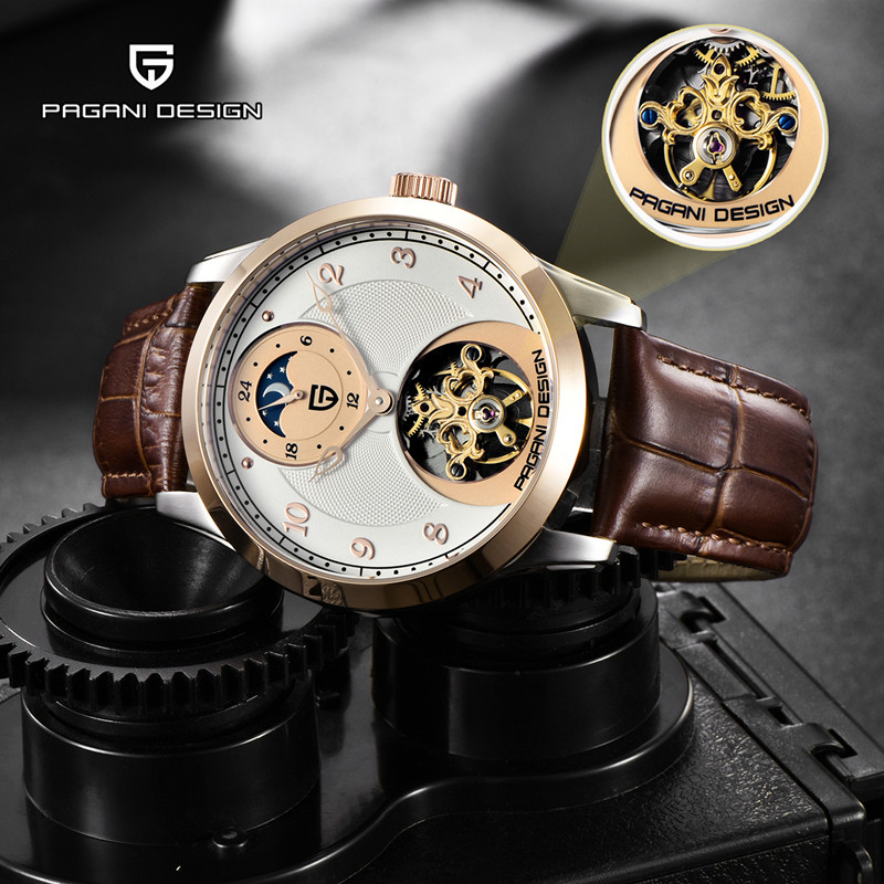 Men Watches Mechanical-Watch Military-Clock Moon-Phase Pagani-Design Tourbillon Luxury Automatic title=