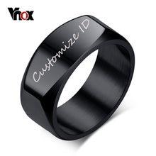 Vnox 8mm Freies Gravur/Rekord Herren Ring Punk Edelstahl Grundlegende Ring für Männer Junge Cocktail Männlichen Zeremonie schmuck