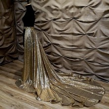 Gold Sequins train skirt,  detachable skirt train gold dress, bride detachable skirt, black skirt, gold glitter wedding dress