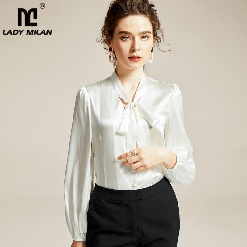 100% Silk Women's Shirt Sash Bow Collar Long Sleeves Elegant Shirt Blouse Tops