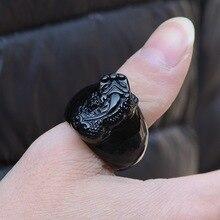 Натуральный кольцо из обсидиана палец гравировка Храбрые войска обручальное кольцо для мужчин ювелирные изделия Лаки нефрит перстень бренд с сертификатом, производство Китай