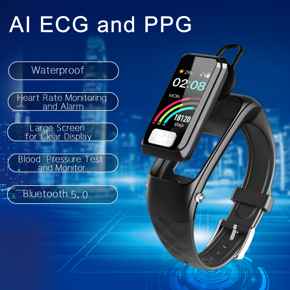 Bluetooth Call Smart Bracelet Earphone ECG PPG Heart Rate Blood Pressure Monitor Sports Smart Watch Call Pedometer Band BT Call