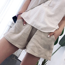 Шорты для беременных, льняные брюки для женщин, для беременных, беременным шорты, штаны для беременных, однотонные повседневные штаны с высокой талией, короткие, Embarazada