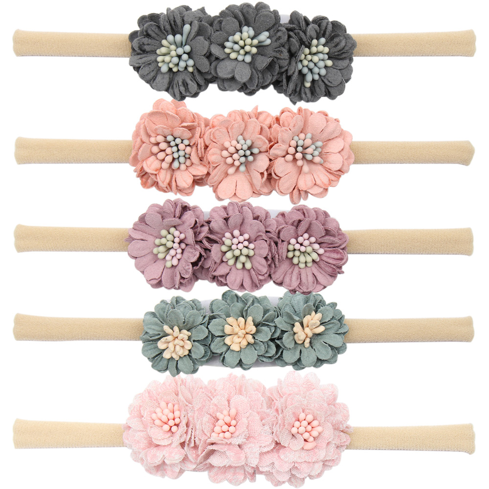 Mini Flower Headband High Elastic Nylon Hair Band Artificial Flower Baby Headwear Fashion Boutique Kids Hair Accessories New