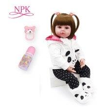 Npk 48cm bonecas de brinquedo do bebê reborn silicone macio vinil reborn bebê menina bonecas bebes reborn bonecas jogar casa brinquedos criança plamates