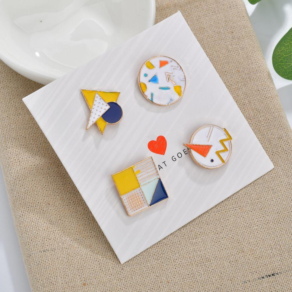 MissCyCy 4pcs/set Enamel Pin Geometric Cartoon Round Brooch Denim Pin Buckle Shirt Badge Gift For Kids Jewellery 2019 New