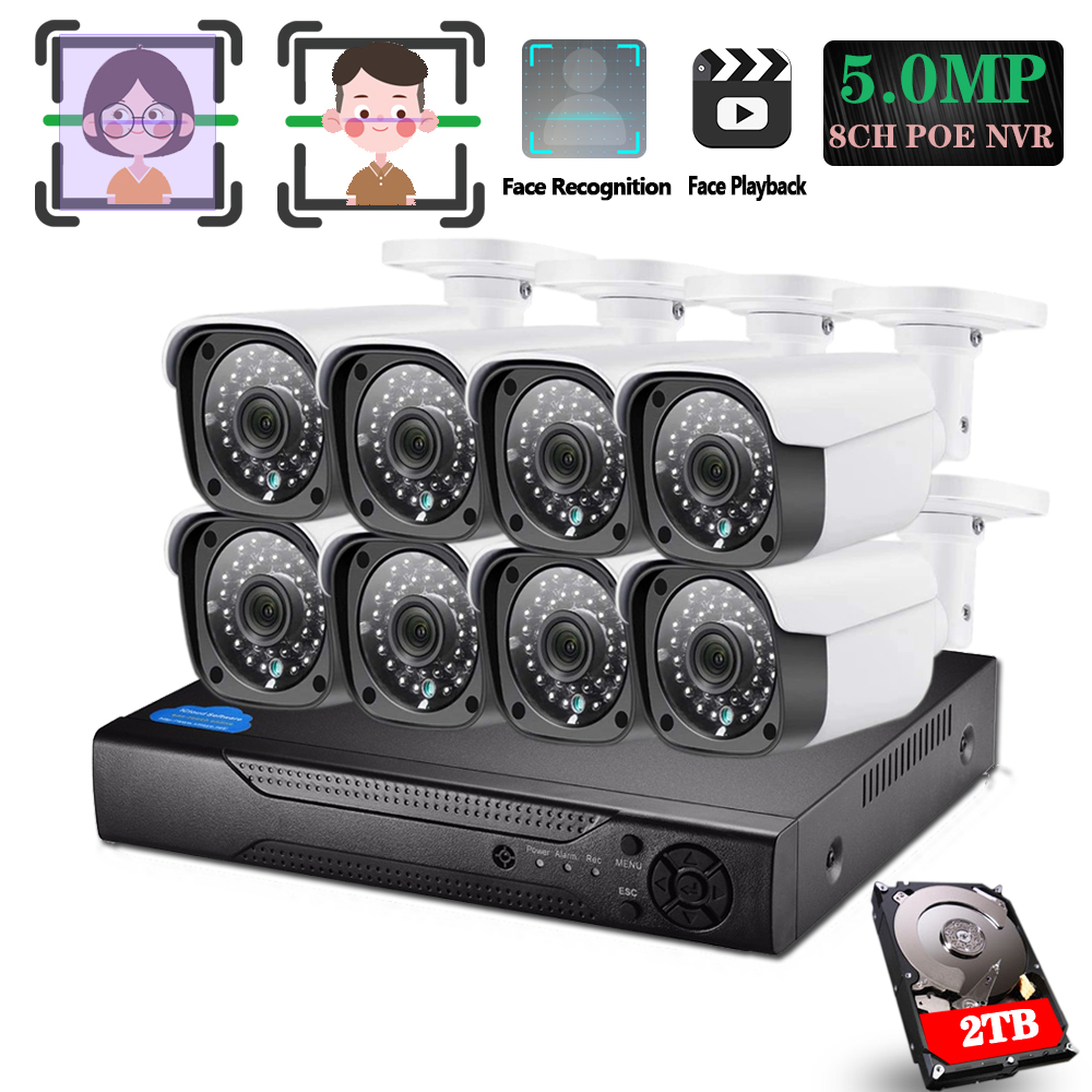 HD 5.0MP POE AI Face Recognition Motion Detection Onvif POE CCTV Camera NVR Kits 5.0MP RJ45 POE48V IP Surveillance Metal Camera