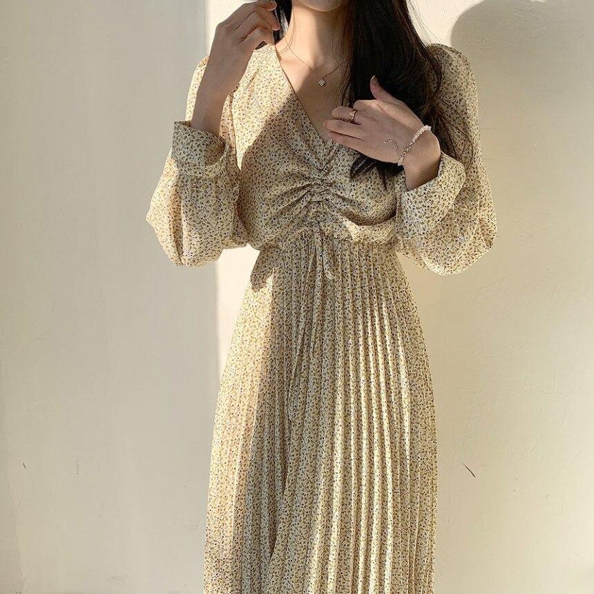 HziriP Новое весеннее летнее элегантное женское платье с v-образным вырезом и длинным рукавом с цветочным принтом плиссированное платье женск...