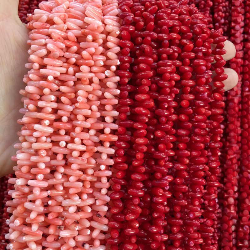 ขายส่งธรรมชาติหินปะการังลูกปัดสำหรับเครื่องประดับทำอุปกรณ์รูปไข่ลูกปัด DIY สำหรับสร้อยข้อมือสร้อยคอ 8x4 มม.
