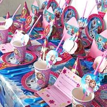 93pcs/lot Disney Frozen Elsa Princess Birthday Party Decorations Kids Pretty Napkin for Baby Shower Party Supplies Disposable