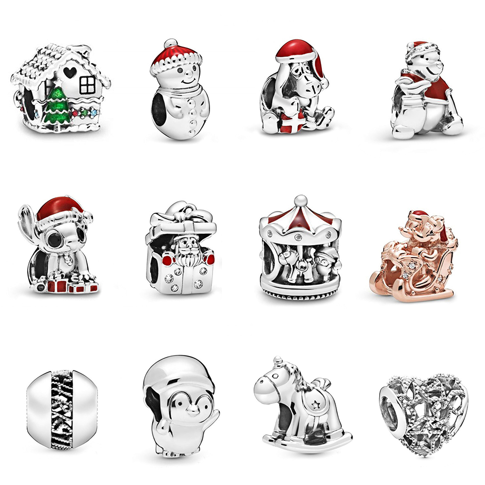 2019 Winter 925 Sterling Silver My Mouse Christmas Snowman And Santa Hat Carousel Little Penguin Charm Original Diy Beaded Acces
