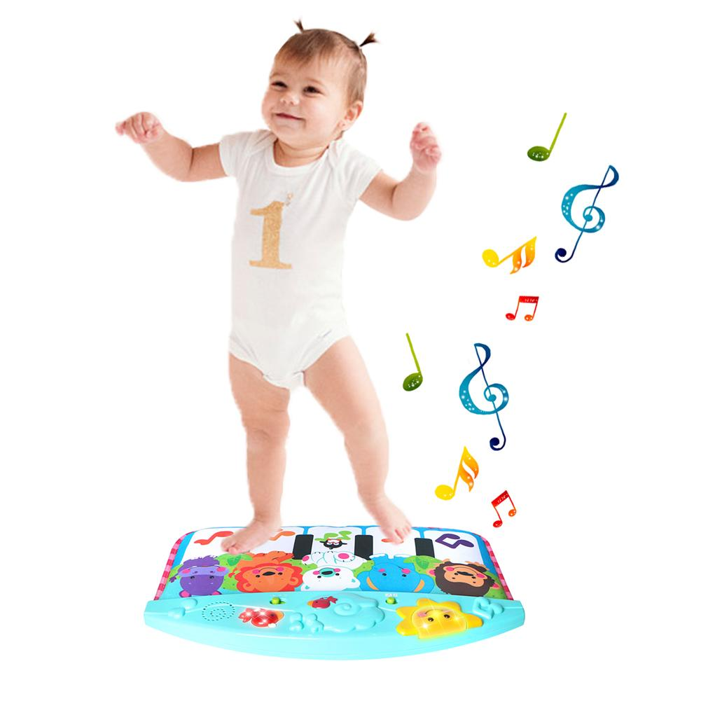 Baby Cute Animal Pedal Piano Music Blanket Multi-function Music Lighting Pedal Piano Children Early Education Toys