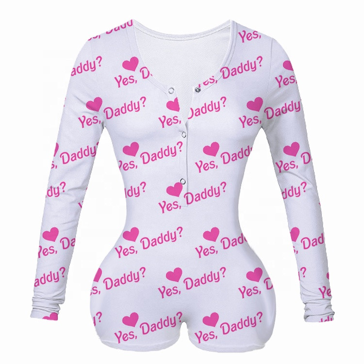 V Neck Bodycon Stretchy Backwoods Yes Daddy Letter Print Leopard Sexy Shorts Rompers Adult Pajamas For Women