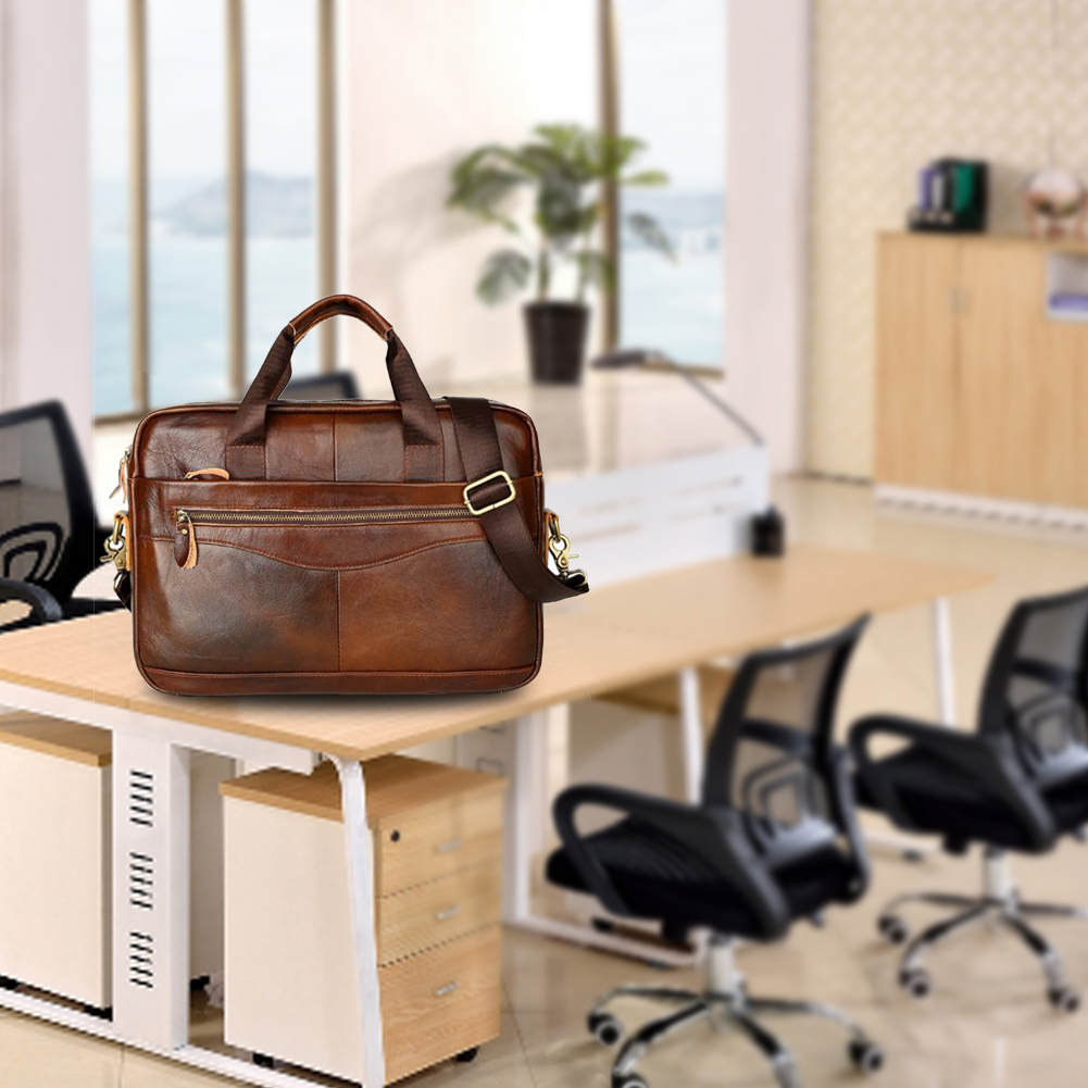 Zipper Business Case Work Artificial Leather Multifunction Storage Handbag Solid Men Briefcase Portable Travel With Strap Square