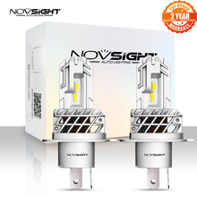 Novsight motocicleta farol lâmpadas 1:1 mini h4 led 50w 12v 10000lm 6000k branco acessórios de automóvel lâmpadas led