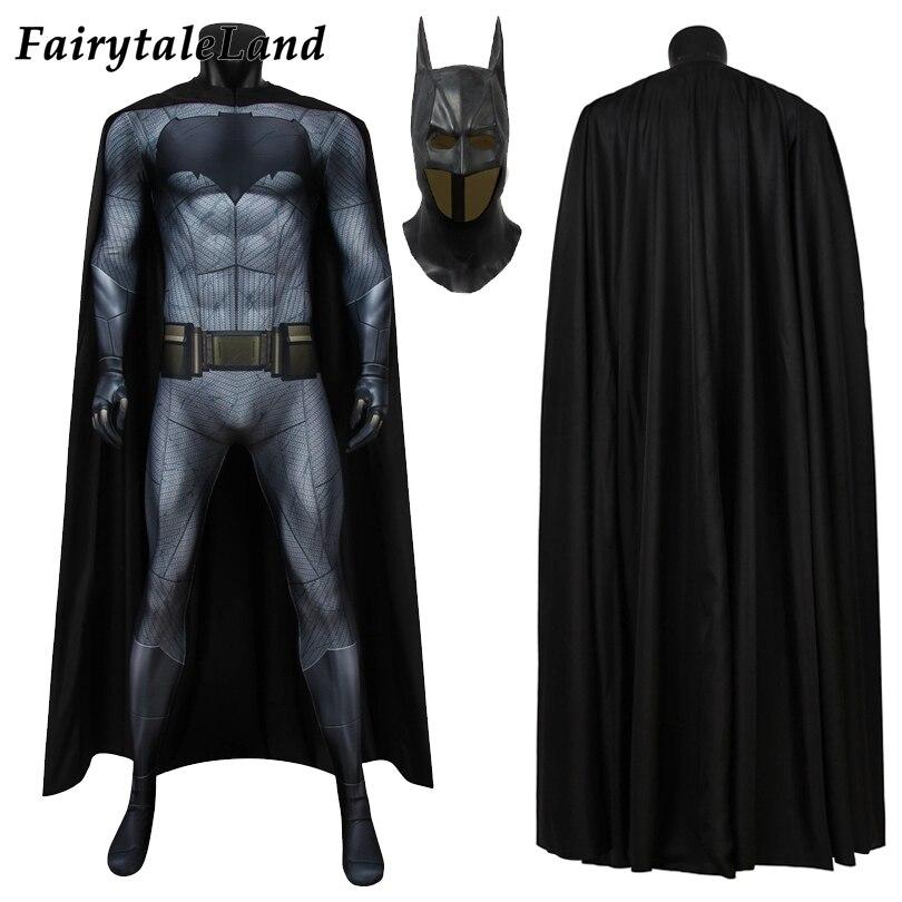 Adulto batman traje cosplay dia das bruxas dawn of justice superhero outfit prnting macacão fantasia masculino elástico bodysuit