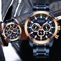 Мужские часы CURREN Топ бренд класса люкс спортивные часы мужские с большим циферблатом синие кварцевые наручные часы с хронографом мужские ч...