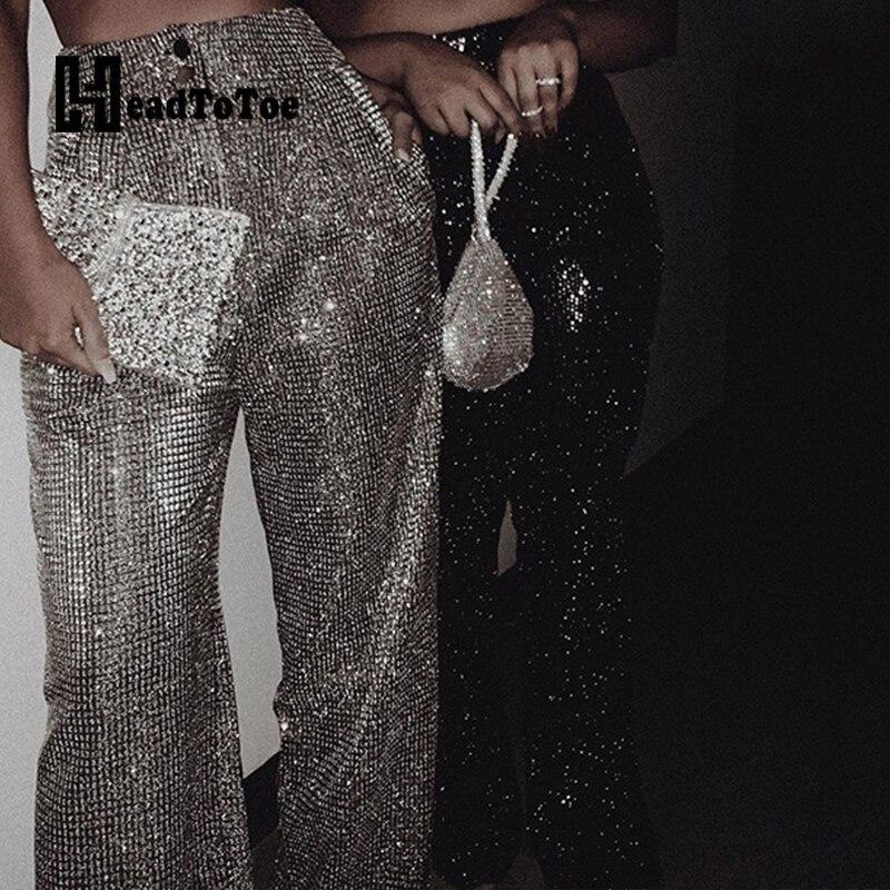 Glitter High Waist Wide Leg Pants Party Clubwear Women Solid Pockets Design Long Pants Trousers