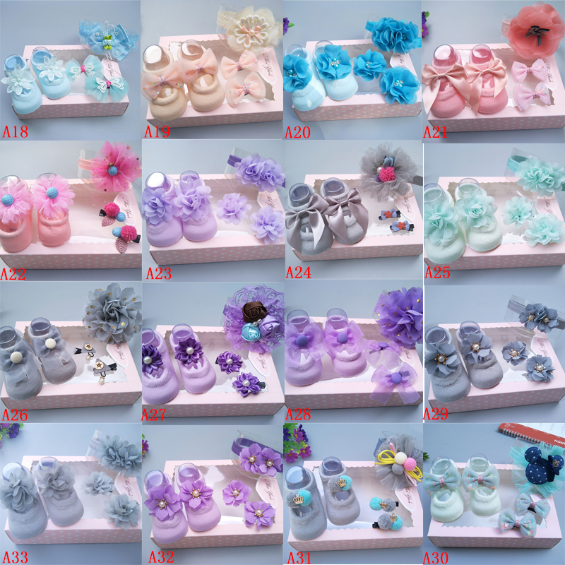 Newborn Baby Girls Headband Bow Flowers Cloth Hair Bands + Headclip Baby Hair Accessories Socks Gift Boxes 4PCS Suit
