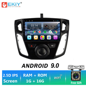 EKIY 9'' Android 9.0 Car Stereo Autoradio HU BT For Ford Focus 3 2012-2015 Multimedia GPS Navigation Player WIFI 2.5D Screen image