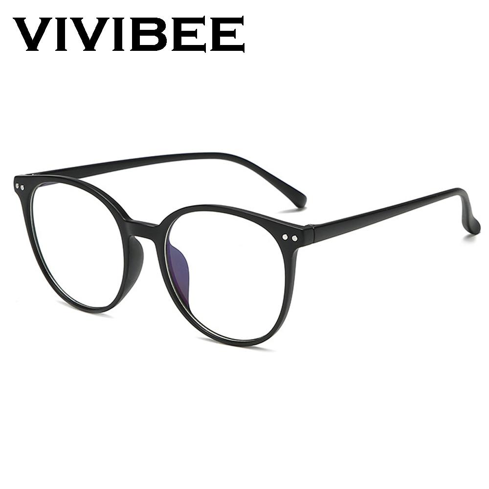 VIVIBEE 2019 Round Women Oversized Anti Blue Light Glasses Classic Big Style Blue Rays Unisex Computer Light Eyeglasses
