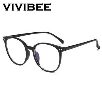 VIVIBEE 2019 Round Women Oversized Anti Blue Light Glasses Classic Big Style Rays Unisex Computer Eyeglasses - discount item  30% OFF Eyewear & Accessories