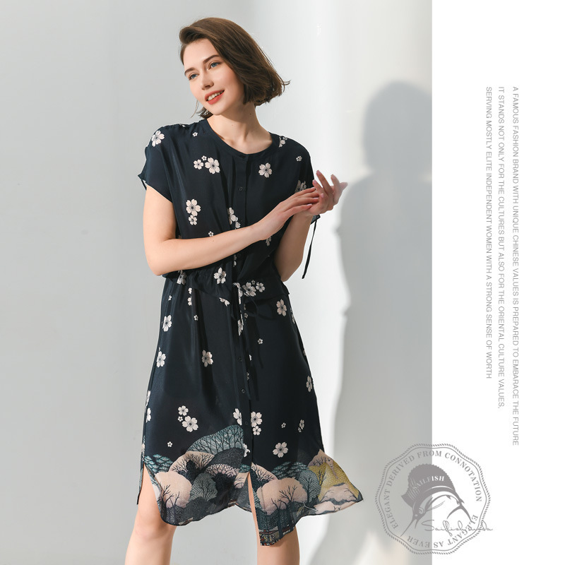 navy chiffon floral silk dresses women 2020 summer long casual office work beach party boho dress plus size loose dropship