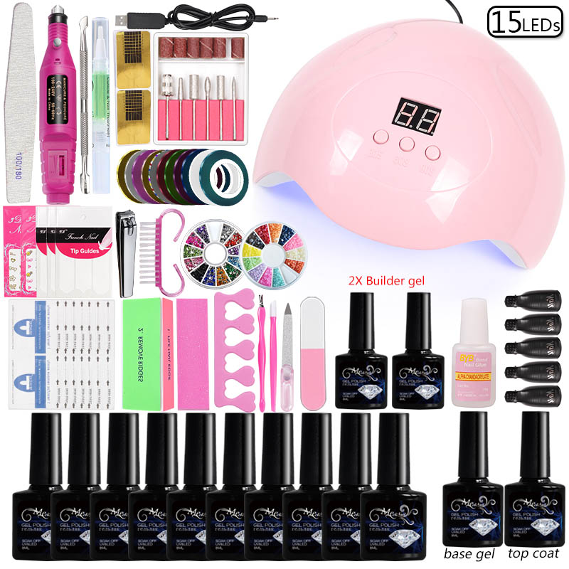 Nail Art Tool 45W/48W/80W Led Uv Nail Lamp 10 Colors Gel  Varnish Electric Machine Accessories Set For Manicure Acrylic Kit
