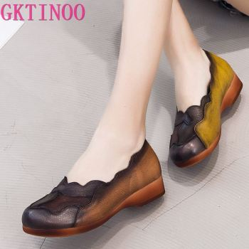 GKTINOO 2019 Autumn Soft Genuine Cow Leather Shoes Women Shoes Elegant Fashion Shoes Woman Retro Handmade Shoes High Heels