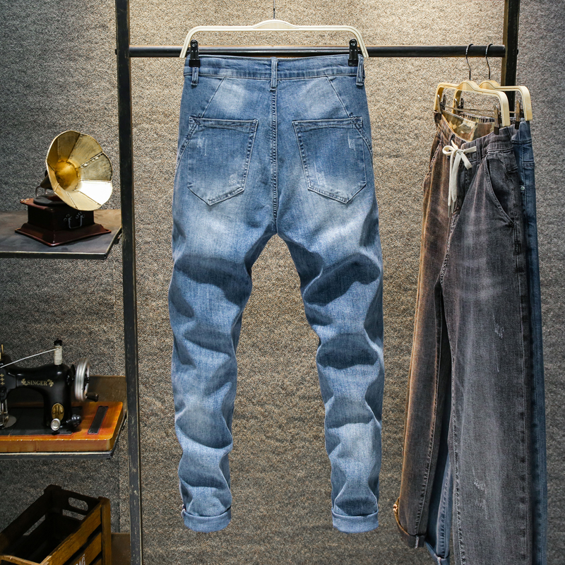 KSTUN Relaxed Tapered Jeans Men Light Blue Stretch Drawstring Joggers Pants Casaul Jeans Trendy Fashion Pockets Desinger Cowboys 12