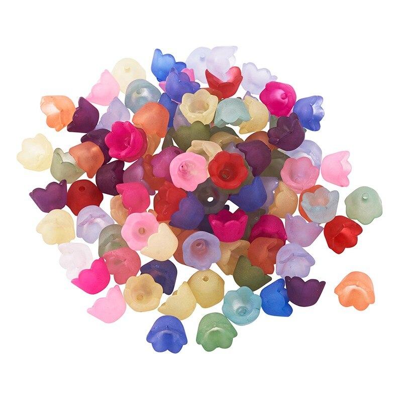 100 шт. 10x6 мм разноцветный прозрачные матовые цветок акриловые бусины для самостоятельного изготовления ювелирных изделий Аксессуары, разме...