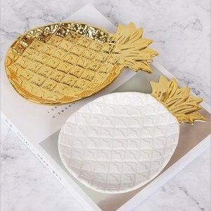 Złoty ananas danie Nordic ceramiczny ananas taca taca na biżuterię ciasto serce danie talerz na owoce dekoracji wnętrz