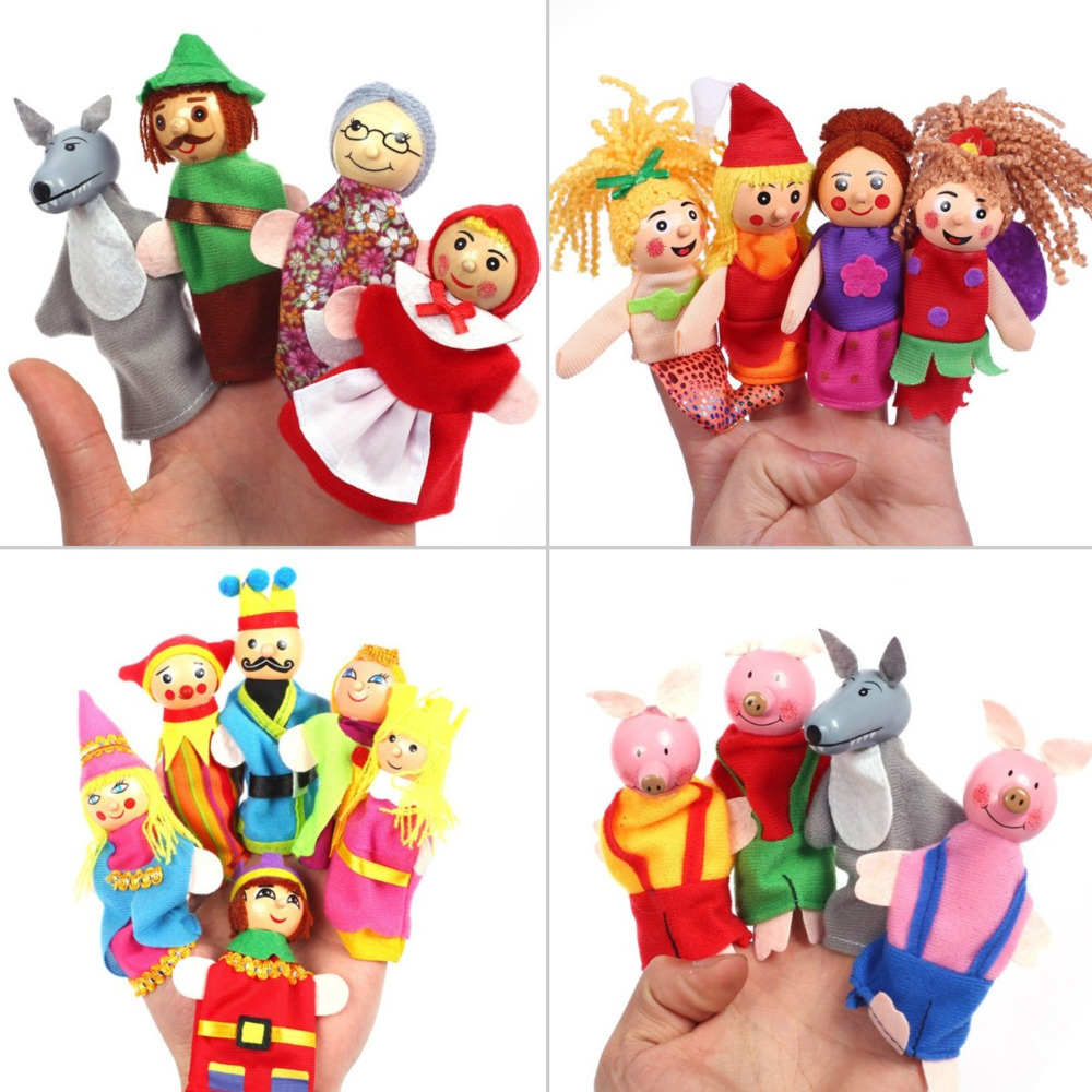 Baby Cartoon Theater Role Play Finger Puppets Three Pigs Mermaid Castle Princess Tell Story Educational Toys For Children Gifts