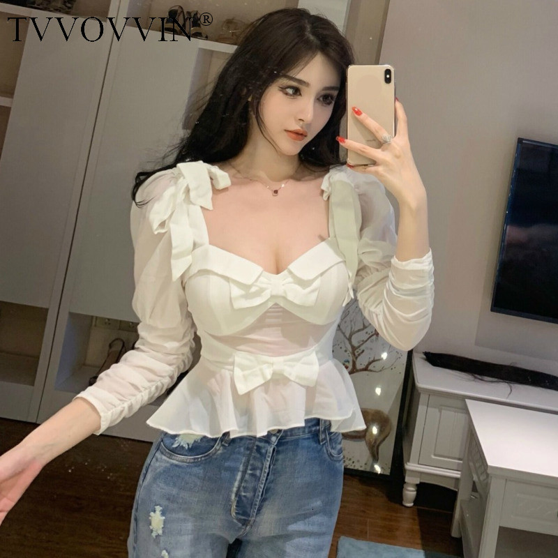 TVVOVVIN 2019 Summer Spring New Fashion New Chiffon White Sexy V Neck Strapless Off Shoulder Bow Womens Tops Shirt Blouse AS666