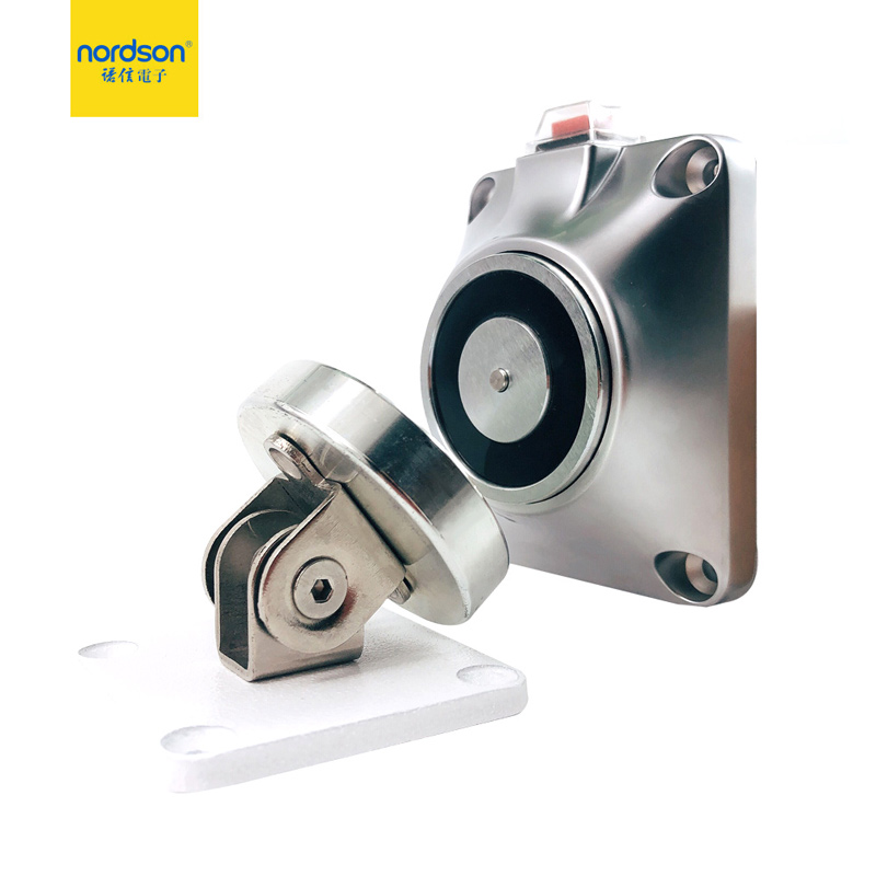 Nordson Original 12/24V Magnetic Wall Mount Door Stopper 50kg/110Lbs Holding Force Power To Lock Electromagnetic Door Holder