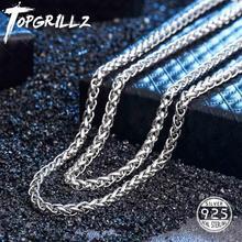 TOPGRILLZ 100% 925 فضة قلادة رجالية بلينغ مثلج خارج الهيب هوب روك لينك فرانكو سلسلة فضية عقد ذهب للهدايا