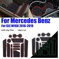 Para Mercedes Benz W166 GLE 2016-2019 Anti-slip Almofada Coaster Sulco Porta Pad Pad Ranhura Capas de Silicone água-Esteira do copo de borracha