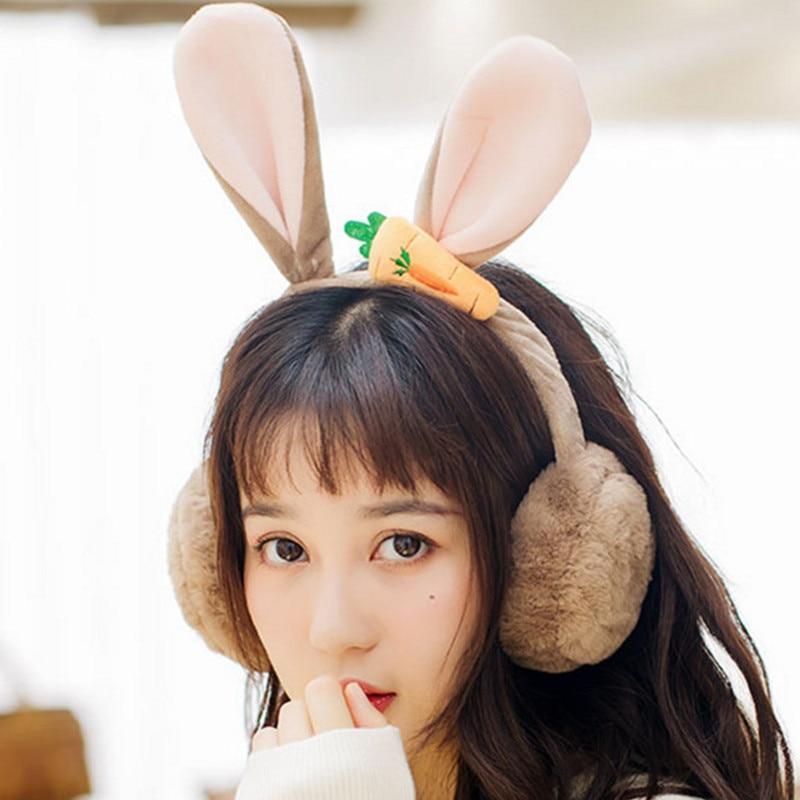 Foldable New Winter Warm Lovely Cartoon Rabbit Ears Plush Children And Adults Women Earmuffs Ear Thick Girls Ear Muffs AD0709