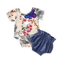 hilittlekids 2Pcs/Set Summer Baby Girls Casual Floral Print Short Sleeve Cotton Romper Tops+Shorts Outfits Set
