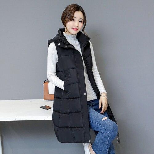 Winter New Down Cotton Women Long Vest Black Hooded Slim Ladies Long Jackets Wild Cotton Vest Women's Coats