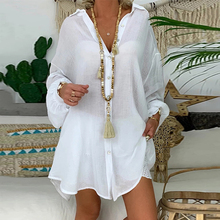 Cotton Linen White Blouses Casual Loose Plus Size 5XL Tunic Turn Down Collar Long Sleeve Button Female Beach Shirts Blouses