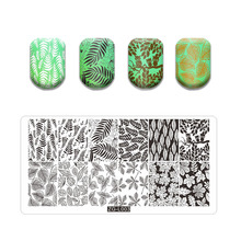 Stamping Plate Maple Leaves Theme Stainless Steel Fall Design Overprint Nail Stamp