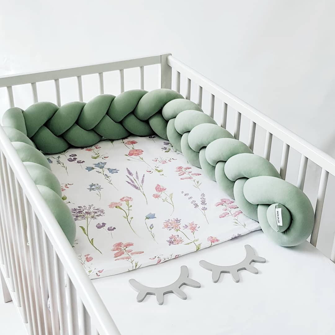 Nursery Cradle Decor 4PCS//Set Safe Crib Bumper Pads for Standard Cribs Washable Padded Crib Liner Thick Padding for Bed Anti Collision