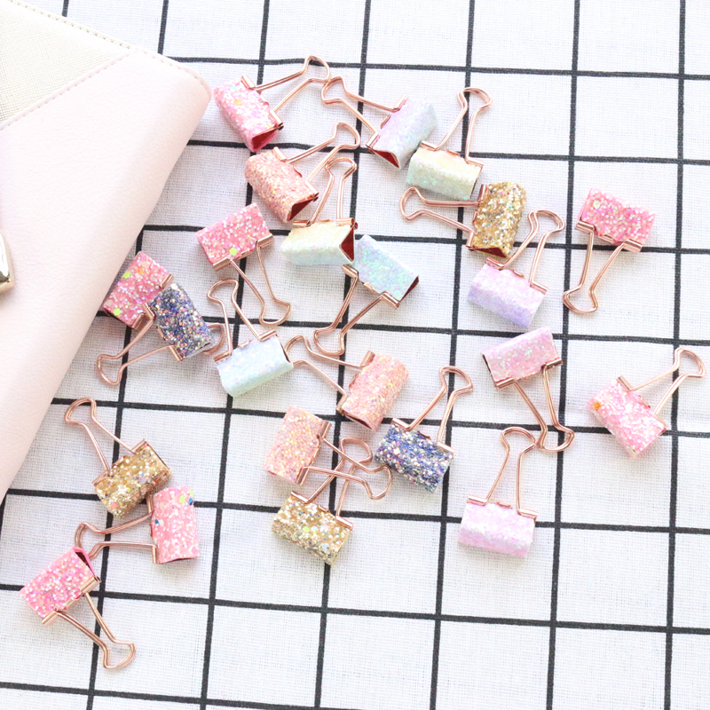 Domikee New Cute Office School Metal Binder Clips Set Kawaii Student Paper Memo Pad Organizer Clips With Sequins 8pcs Stationery
