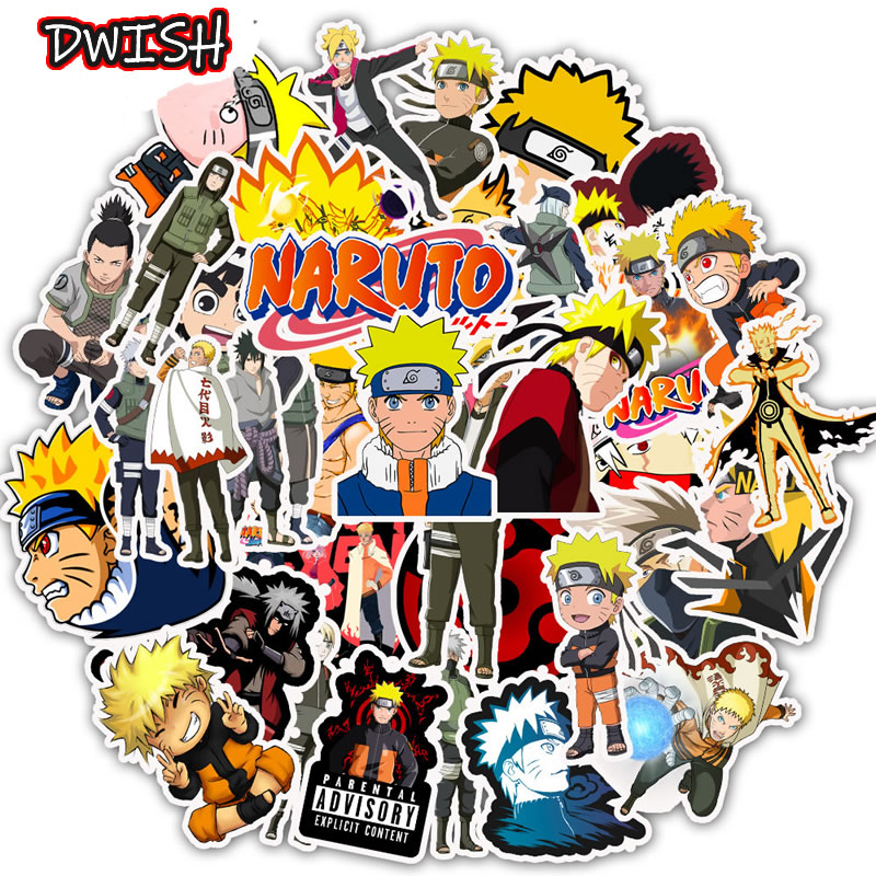 50pcs/Pack Cartoon Anime NARUTO Waterproof Kids Stickers Skateboard Suitcase Guitar Graffiti DIY Sticker Children Classic Toy