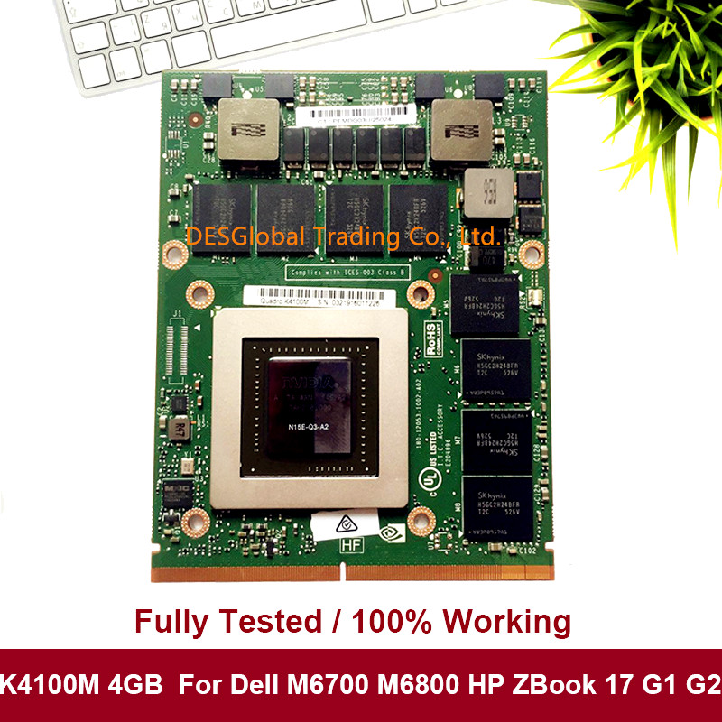 Original K4100 K4100M Video Graphic VGA Card N15E-Q3-A2 0WG3YY WG3YY For Dell M6800 M6700 HP 8770W ZBOOK17 Working Perfectly