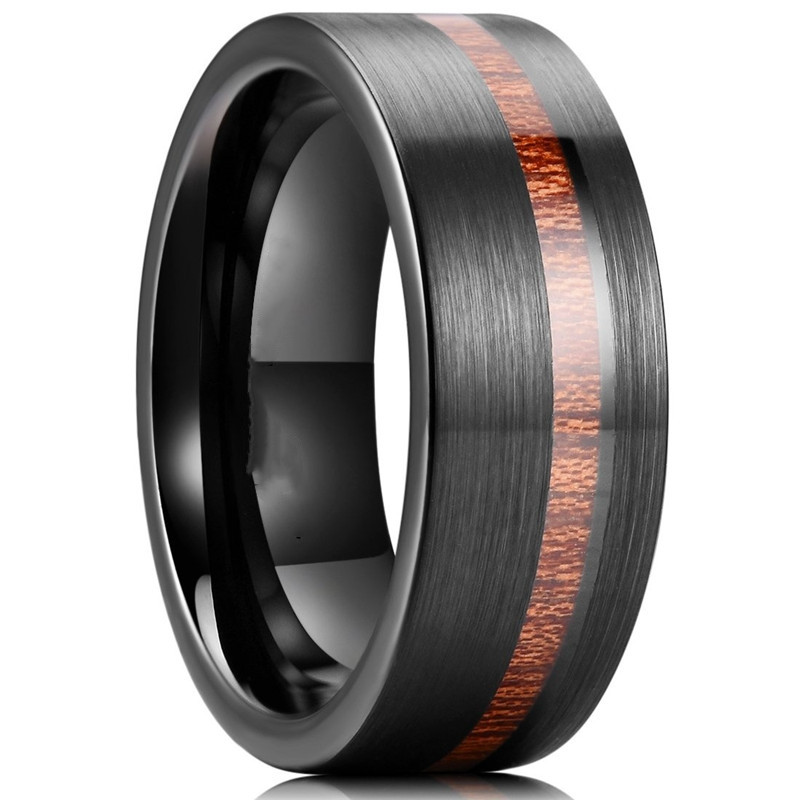 FDLK  Men's Fashion 8mm Wood Inlay Black Stainless Steel Wedding Ring Engagement Ring