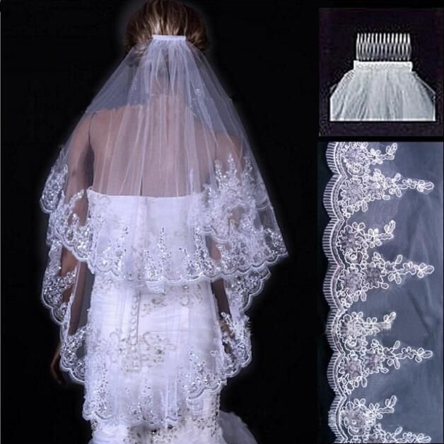 Hot Sale Two Layer White Ivory Tulle Bridal Veil Lace Sequins Beaded Edge Cheap Short Wedding Veils Veu De Noiva Longo In Stock