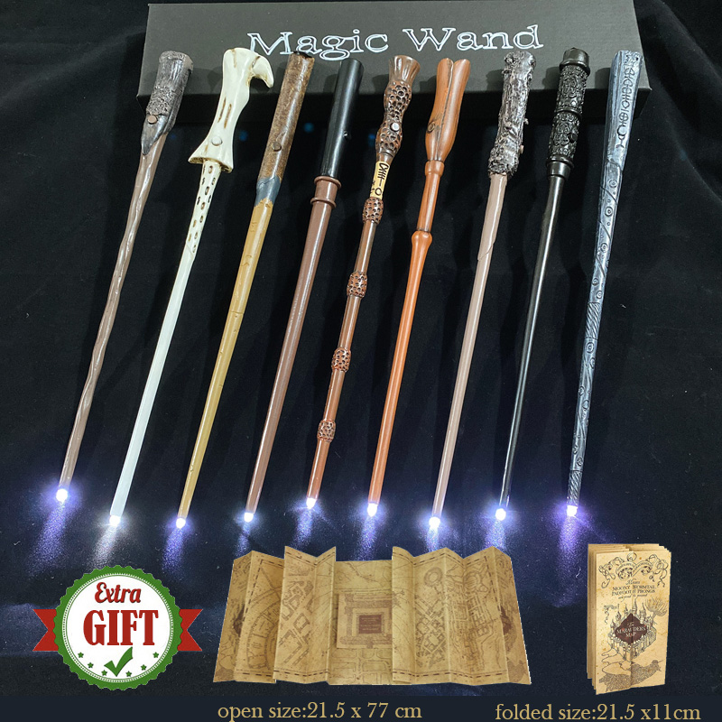 22 Kinds Light Harris Pottered Magic Wands Malfoy Hermione Dumbledore Magic Wand with Gift Box Packing 1 Marauder's Map Gift